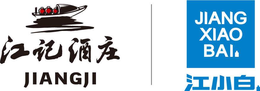 jiangji distillery logo dark background red characters