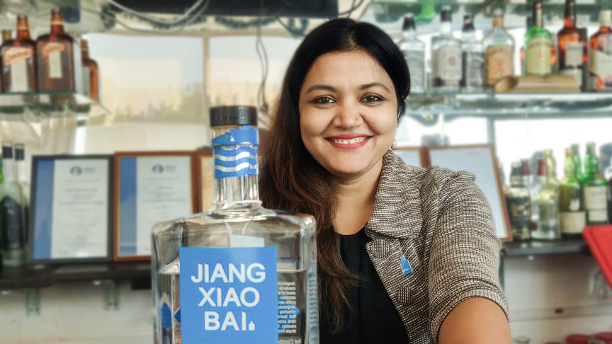 Rojita Tiwari behind the bar